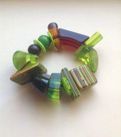 Jackie Brazil Sobral Resin Beaded Stretch Bracelet, cones, confetti, stripes, clear beads, handmade beads, egst, Greece by GirlyStuffByDeJaVu on Etsy