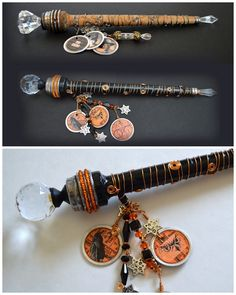 Magical Wand Tutorial made from wooden bobbins, knobs, beads, wire Magick, Witchcraft, Wiccan Wands, Witch Wand, Wiccan Crafts, Diy Wand, Fairy Wands, Harry Potter Wand, Book Of Shadows