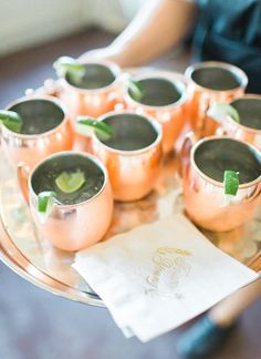 Moscow Mule, copper mugs, lime wedge, cocktail hour // Rachel May Photography Wedding Signature Drinks, Signature Cocktail, Copper Mugs, On Your Wedding Day, Wedding Stuff, Black Tie Wedding, Wedding Vendors, Wedding Reception, Food Decoration