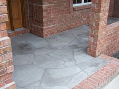 Incredible Flagstone Front Porch for House Yard Decoration : Grey Feat Red Brick Wall Of Flagstone Front Porch Exterior Design As Front Part Modern Style