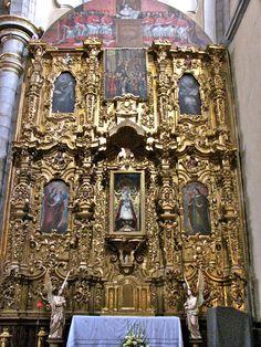 Retablo behind the capilla altar to the right of the main altar, Puebla, Mexico.