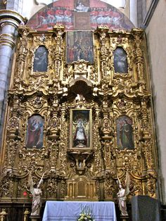 Retablo behind the capilla altar to the right of the main altar, Puebla, Mexico.