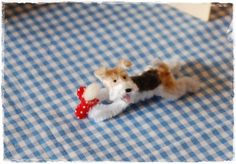 Pipe Cleaner Naughty Wire fox Terrier frog legs (With Heart cushion included)