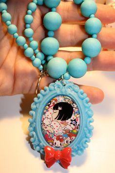 Tokidoki kawaii necklace Fairy kei Emo girls Raver Unicorn Sanrio theme decora