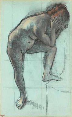 Edgar Degas monotype - femme nue debout vers, 1880-1883, pastel
