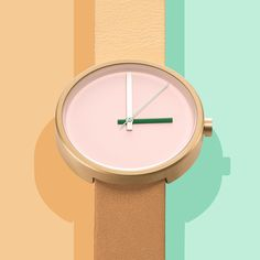 Multi Morning features a matte gold stainless-steel case and crown, which are paired with a dual-tone Italian leather strap in two soft camel shades. #colourpop #Australiandesign #watches