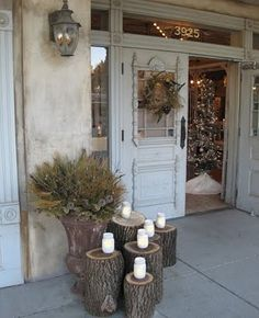Mohawk - Homescapes - Porch - Fall - Decor - Home - Design - Front - Door… Front Door Decor, Front Porch, Front Deck, Front Doors, Outdoor Living, Outdoor Decor, Christmas Decorations, Holiday Decor, Outdoor Projects