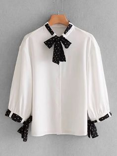 To find out about the Tie Detail Blouse at SHEIN, part of our latest Blouses ready to shop online today! Stylish Dress Designs, Stylish Dresses, Blouse Styles, Blouse Designs, Girls Fashion Clothes, Fashion Dresses, Sleeves Designs For Dresses, Stylish Tops, Blouses For Women