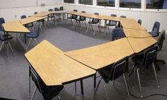 my quest for the perfect trapezoid arrangement Seating Chart Classroom, Classroom Layout, Classroom Setting, School Classroom, Classroom Organization, Classroom Management, Classroom Decor, Classroom Table Arrangement, Desk Arrangements