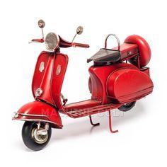 Lambretta Vermelha Decorativa - Machine Cult | Loja online especializada em camisetas, miniaturas, quadros, placas e decoração temática de carros, motos e bikes