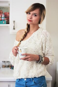 So simple and chic. I love a good low side braid and slouchy shirts.