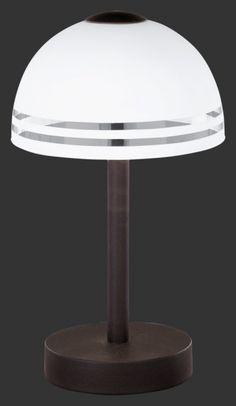 598210124 Trio - dotyková lampa - hrdza + saténové sklo