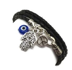 Leather Wrap Bracelet with Hamsa, Evil Eye, and Peace Sign WANT WANT♥♥♥♥♥♥