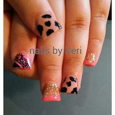 Holstein nails with pink glitter. NAILS BY KERI.