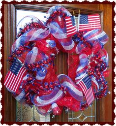 July 4th Patriotic Wreath with Red White and Blue Deco Mesh