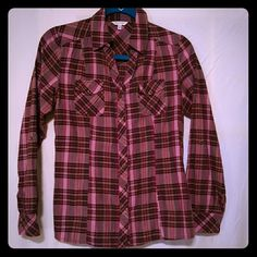 Maurices plaid long-sleeved shirt Maroon, pink, brown long-sleeved, button down plaid shirt. Only wore a couple of times, great condition! Maurices Tops Button Down Shirts