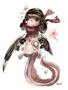 """""""Axolotl Barbare"""" Art Print by Bouletcorp on Society6"""