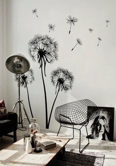 Atelier White Walls Black Wall Tattoos Dandelions Be .- Atelier-weiße-Wände-schwarze-Wandtattoos-Löwenzähne bemalen Coole Wand… Atelier-white-walls-black-wall stickers-dandelions paint cool wall decals, suitable for any room -