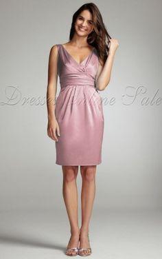 Pink Sheath Knee-length V-neck Dress