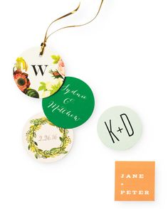 These colorful, personalized favor tags by Smitten on Paper would look fantastic…