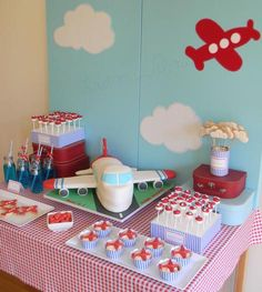 Airplane-themed birthday party.