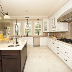 Kitchen Floor Tile Light Color, Dark Island U0026 Hardware Accents, Island Top  White Like