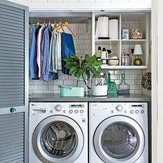 """In the Laundry Room - Small Space Organizing Tips - Southern Living """"Shelves in the closet! Collins on you, but these shelves in the laundry are a great idea. Laundry Cupboard, Laundry Nook, Small Laundry Rooms, Laundry Room Organization, Laundry Room Design, Laundry In Bathroom, Organization Hacks, Organizing Tips, Closet Laundry Rooms"""