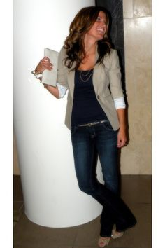 Casual Friday - Tan Blazer with Gold Accessories