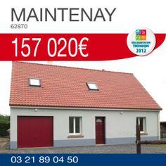 #HabitatConcept vous propose ce pavillon #RT2012 comprenant 3 chambres, une cuisine ouverte sur séjour et un garage sur un terrain de 1016 m² situé à MAINTENAY (62870) pour 157 020€ TTC*