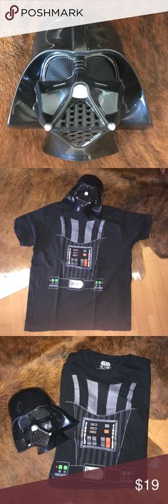 💀Darth Vader Costume from Star Wars Darth Vader plastic mask & comfy cotton T-shirt, size XL. Great for an easy costume! Worn once, washed twice. Comes from a smoke free pet free home. Star Wars Other