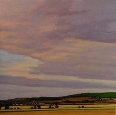 """Yellow Fields, Lavender Sky II"" by Melissa Anne Miller, oil on canvas, 24 x 24, $3200"