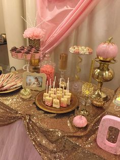 Pink & gold birthday party treats! See more party planning ideas at CatchMyParty.com!