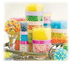 Jelly beans + different height vases = awesome centerpieces Candy Theme, Candy Party, Candy Land, Holiday Candy, Holiday Parties, Holiday Ideas, Edible Centerpieces, Centerpiece Ideas, Wedding Centerpieces
