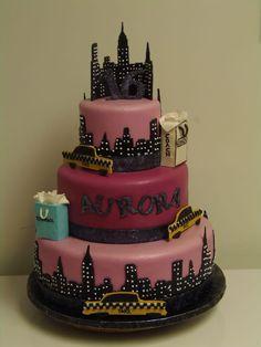 NYC sweet 16. Sweet 16 Themes, 16th Birthday, Cake, Desserts, Food, Nyc, Tailgate Desserts, Sweet 16 Birthday, Deserts