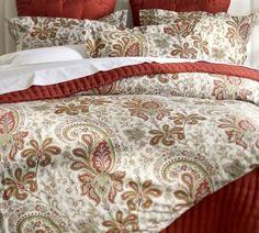 Charlie Paisley Organic Duvet Cover  Sham - Red | Pottery Barn
