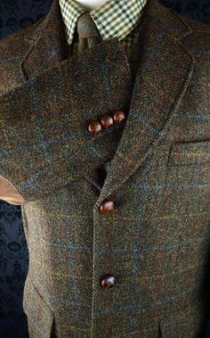 Superb mens harris tweed country sports jacket blazer loose 40/42 medium