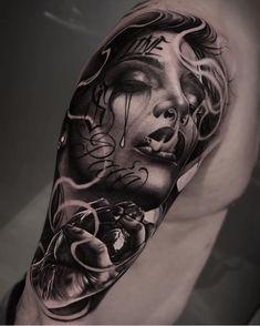 Amazing Tattoo Designs & Ideas That You'll Love! Payasa Tattoo, Skull Girl Tattoo, Girl Face Tattoo, Money Tattoo, Girl Arm Tattoos, Tatoo Art, Body Art Tattoos, Medusa Tattoo Design, Sketch Tattoo Design