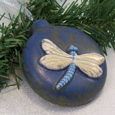 Ceramic Dragonfly Ornament by GrapeVineCeramicsGft on Etsy, $10.00