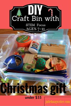Crafts for kids is a great hobby and past-time. My boys love to make crafts, but only certain types of crafts. My DIY Craft Bin for Boys ages 7-11 is perfect for boys, or girls, who like to make crafts with more of a STEM focus. One of my sons is constantly creating inventions and crafts. He always makes a giant mess and I call him my tornado mad-scientist kid who loves all things STEM and science. I often come into my kitchen to find a crazy mess from his time working on a craft project.
