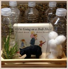 Add story props, like environmental sound shakers to & are going on a bear hunt& Focus: interactive story reading Preschool Literacy, Preschool Books, Early Literacy, Literacy Activities, Book Corner Ideas Preschool, Preschool Camping Theme, Science Center Preschool, Preschool Ideas, Teaching Ideas