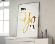 Typography Print, Quote Print, Wedding Decor, Treat Yo Self, Parks and Rec, White Gold, Nude, Wall Decor - Treat Yo Self 2 (12x18) on Etsy, $40.00