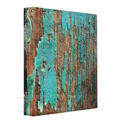 Old blue paint on wood vinyl binder - just sold!