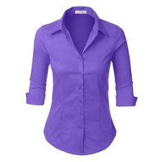 LE3NO Womens 3/4-Sleeve Easy Care Shirt, L3NWT574A_BABYPINK, X-Small a ❤ liked on Polyvore featuring tops, 3/4 length sleeve shirts, purple top, shirt top, three quarter sleeve shirts and button up top