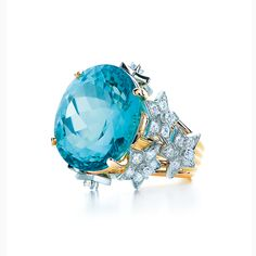 Tiffany & Co. Schlumberger® Stars ring with a blue tourmaline and diamonds in 18k gold and platinum.