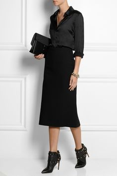 Donna Karan | Stretch wool-blend midi skirt | NET-A-PORTER.COM