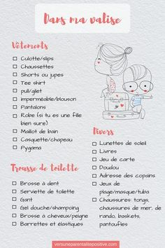In my suitcase: how to help your child prepare his suitcase checklist hacks products tips box camping camping campers caravans trailers travel trailers Organization Bullet Journal, Diy Organisation, Dc Travel, Camping Checklist, Camping Tips, School Notes, Travel Information, Kit, How To Plan