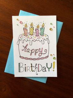 Happy Birthday Card CAKE Hand Illustrated by FedeleDesign, $6.00