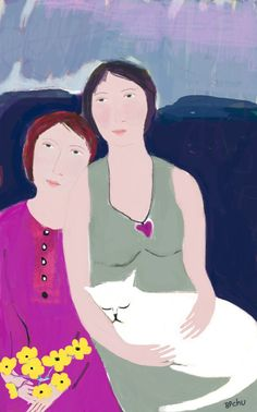 Barbara Perrine Chu - Mother and Daughter with Cat