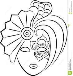 Illustration of A beautiful venetian carnival mask for new year or Halloween party, isolated. vector art, clipart and stock vectors. Mask Drawing, Line Drawing, Venetian Carnival Masks, Coloring Book Pages, Painted Rocks, Vector Art, Art Drawings, Art Projects, Sketches