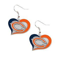 "NFL Team Earrings Swirl Design (7/8"" Wide, Chicago Bears)"